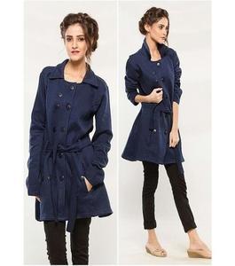 Navy Blue Fleece Long Coat For Women