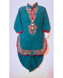 Linen Kurta Shalwar Embroidered Suit For Girls - Bottle Green