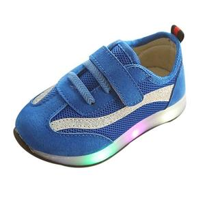 Perfect Meet Princess shoes Children Baby Girls Boys Striped Mesh Led Luminous Sport Running Sneaker Shoes