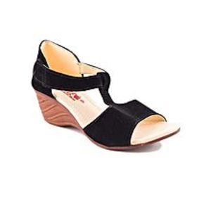 star garnetBlack Velvet Heel Sandal For Women