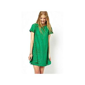 Bluelife Ladies Vintage Bohemian Short Sleeve Lace Dress Bottoming Dress Loose Big Yards S-Xxxxl -Green