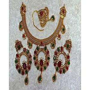 make ovvGolden & Lite Green & Red 1 Karat Gold Necklace With Earrings & Teeka