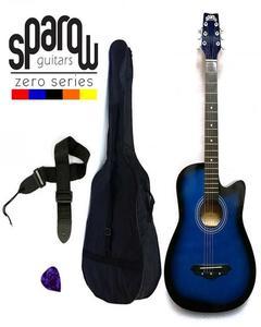 Spzero Beginners Acoustic Folk Cutaway Guitar 38 Inch (Blue Burst) Free Bag/Strap/Pick