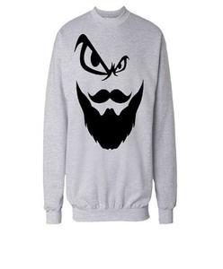 Grey Cotton Fleece Printed Sweatshirt for Men