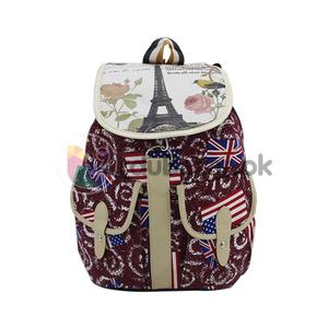 America & British Flags Maroon Bag - 4 Pockets Women, Ladies & Girls Backpack