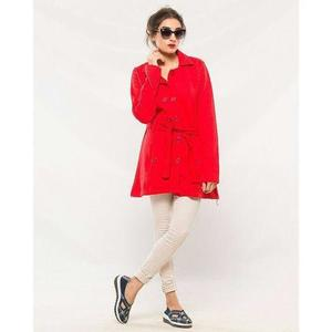 Red Cotton Button Style Long Coat With Front Pocket For Women