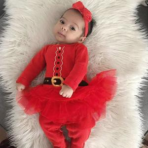 Infant Baby Girls Christmas XMAS Princess Tutu Romper Jumpsuit Dress Outfits