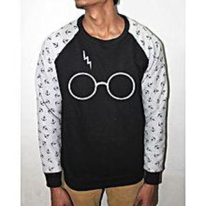 StreetstoreBlack and Gray Anchor Harry Potter Printed Fleece Sweatshirt For Men