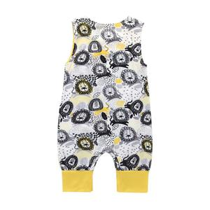 42702f2dfc4 Vetech - Cute Lions Print Sleeveless Baby Rompers Soft Boys Girls Buttons  Jumpsuit