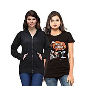 Ace Pack of 2 - Black Hoodie with Black Printed Cotton T Shirt for Her