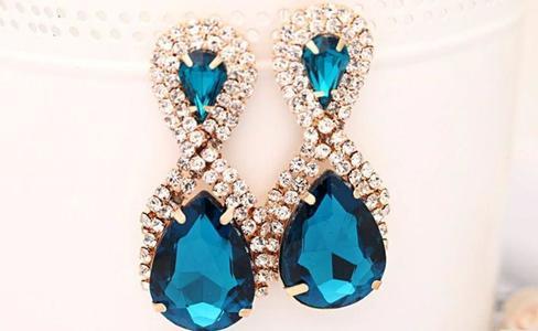 Studs Women Droplets Shining Gold Plated Crystal blue Drop Earrings Women