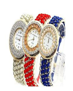 Pack of 3 Thread Style Watch For Girls - Red, Blue & White