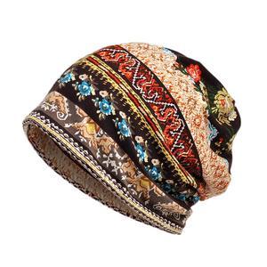 Women Vintage Flower Print Sun Block Muslim Cap Stretch Turban Hat Head Scarf