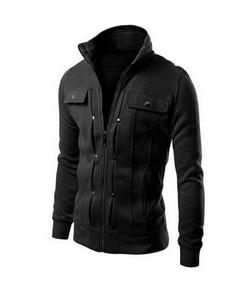 Feather Hide  Winter Collection Black Mexican jacket for Men with Front Pocket