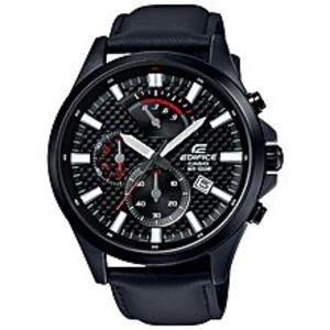 Casio - EdificeSteel Black Chronograph Leather Band watch for Men - EFV-530BL-1AVUDF