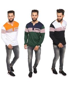 Pack Of 3 V-Neck Button Strip T-Shirts For Men