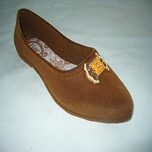 Brown Velvet Pcu Slip On Shoes For Women