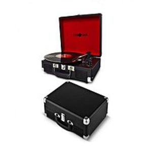 Debonair Retro Briefcase Style Vinyl Portable Three Speed Turntable with Built-in Speakers and RCA Output - Black