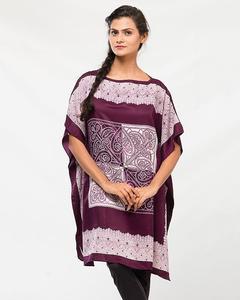 Dark Purple Polyester Printed Poncho for Women - PON09 PU05