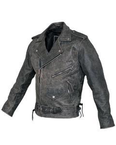 Mens Marlon Brando Belted Biker Motorcycle Distressed Leather Jacket