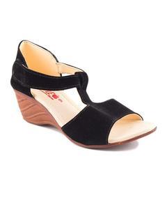 AEYS - Black Velvet heel sandal for Women For Women