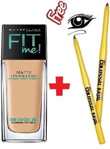 Maybelline New York Fit Me Matte + Poreless Foundation (320 Soft Tan-30ml) With Colossal Kajal