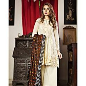 Nimsay Off White Unstitched 3 Pcs Shirt Embroidered Lawn With Trouser  And Tissue Silk Dupatta
