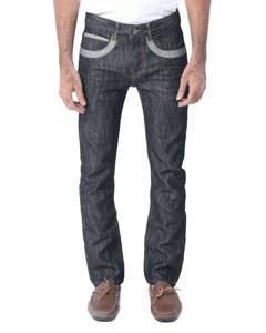 Dark Blue Denim Straight-leg Jeans with Grey Pockets For Men - Slim-fit -