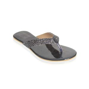 Mojari Black Synthetic V-Strap Slipper for Women