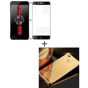 Pack of 2 - Xiaomi Redmi 4x Full Coverage Glass & Mirror Bumper Case - Black & Gold