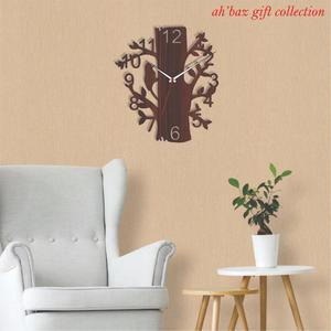 Antique Home Decoration Simple Wooden Wall Clock,Tree design Favorite 3D Laser Cut Wall Clock-Home decor
