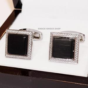 Black - Gemstone - Square Cufflinks for Men
