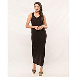 EssentialsBlack Cotton Jersey Maxi Dress For Women