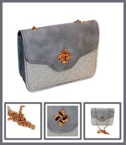 Women's Handbag Accessories Grey PU Sling Bag With Chain