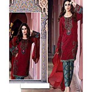 HS TextileStar Red Crisp-F Unstitched Suit For Women - 3 Piece