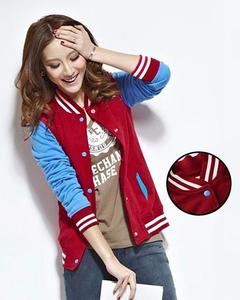 Maroon And Blue Baseball Jacket For Women