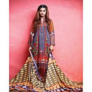 Al Zohaib TextileGray Lawn Unstitched Suit For Women - 3 Piece