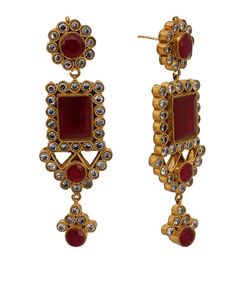 Cristaux Ruby Metal Geometric Gold Plated Earrings