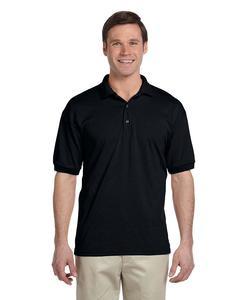 Black Cotton Polyester Polo Shirt For Men