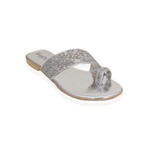Mojari Silver Synthetic Toe Loops Slipper For Women