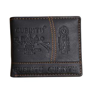 Allwin Ultra Thin GUBINTU Fashion Short Student Man Wallet PU Leather Purse Money Bag Black