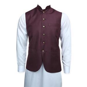 Maroon Jawahar Waistcoat for Men