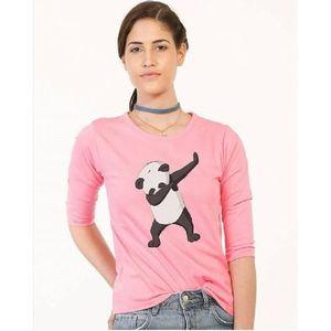 Panda Cotton Pink T-Shirt For Women