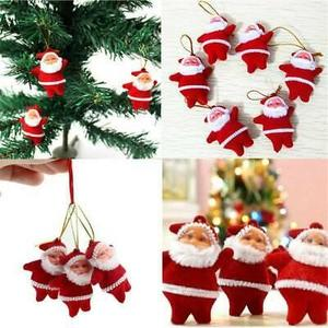 12 PCs Colorful Christmas mini Santa Claus Party Ornaments Xmas Tree Hanging (Colorfu and red )
