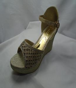 Golden Synthetic Fancy Heels  Strppy Sandal For Women - 529-51059