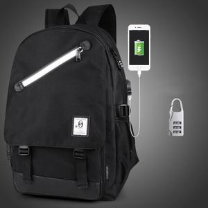 Multi-Function Large Capacity Oxford Cloth Black Backpack Casual Laptop Computer Bag with External USB Charging Interface & Security Lock for Men / Women / Student, Size: 46*30*14cm