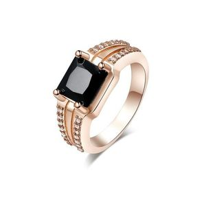 Vintage Black Square Cubic Zirconia Rose Gold Plated Ring