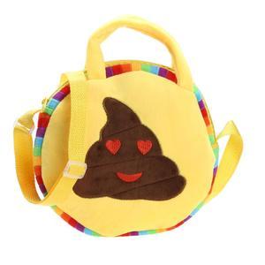 Vktech Emoji Face Expression Plush Toy Children Round Backpacks School Bag