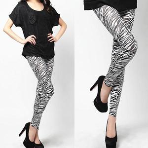 Black & White Fleece Zebra Print Tights for Women