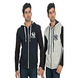 kambohPack Of 2 - Multicolour Fleece Hoodie For Men